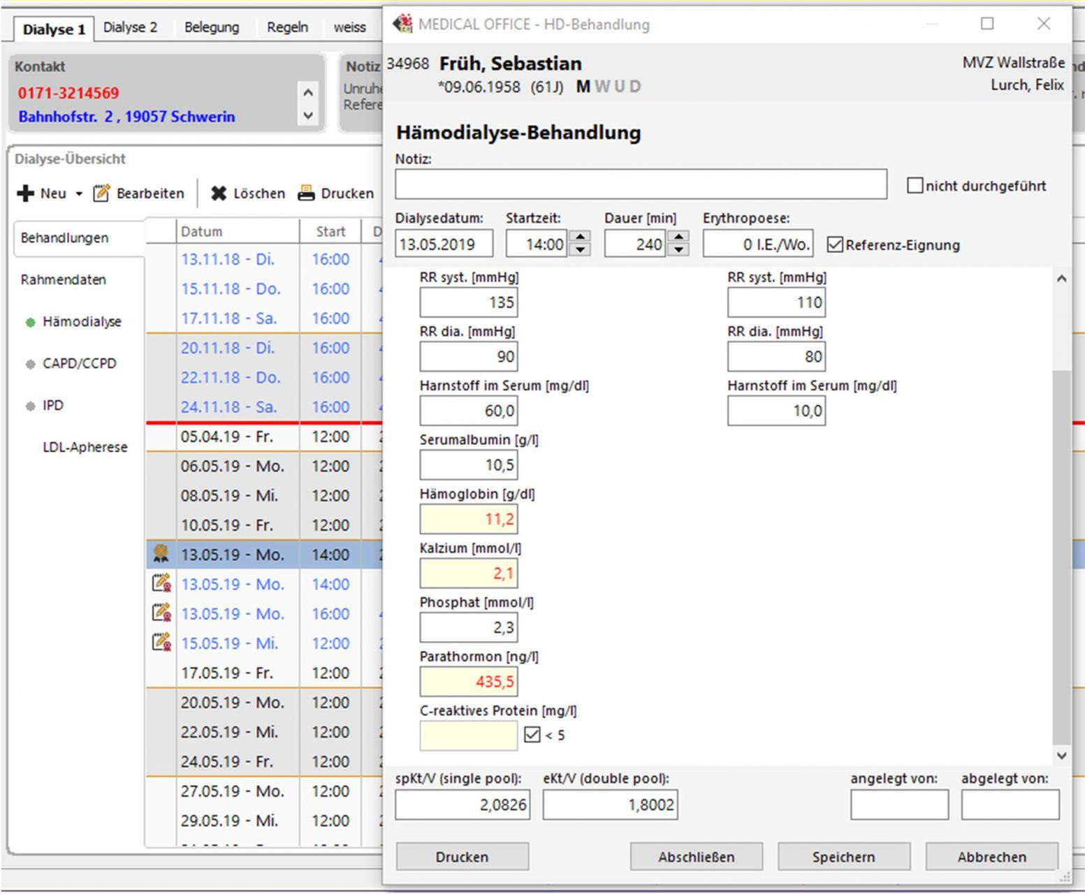 Praxissoftware Dialyse Dokumentation von Hämodialysen, Peritonealdialysen MEDICAL OFFICE