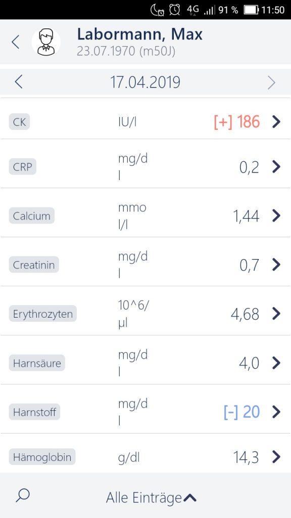 MedicalOffice App Laborwerte Übersicht