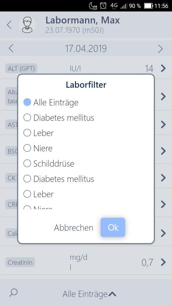 MEDICAL OFFICE Arztsoftware App Filterung Laborwertr