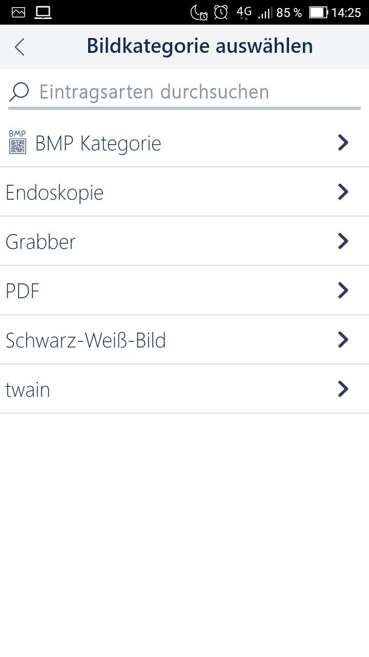 Bildkategorie wählen in MEDICAL OFFICE App