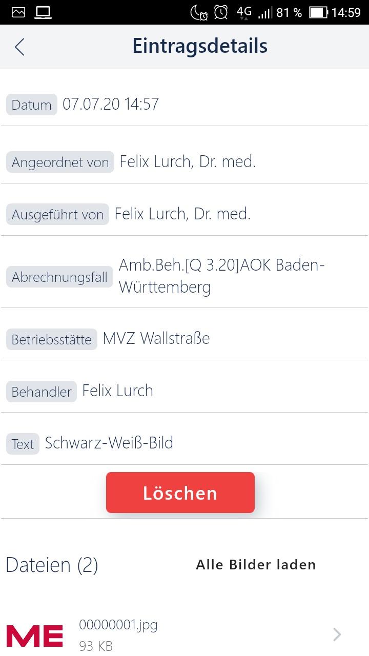 Arztsoftware MEDICAL OFFICE App Detailansicht