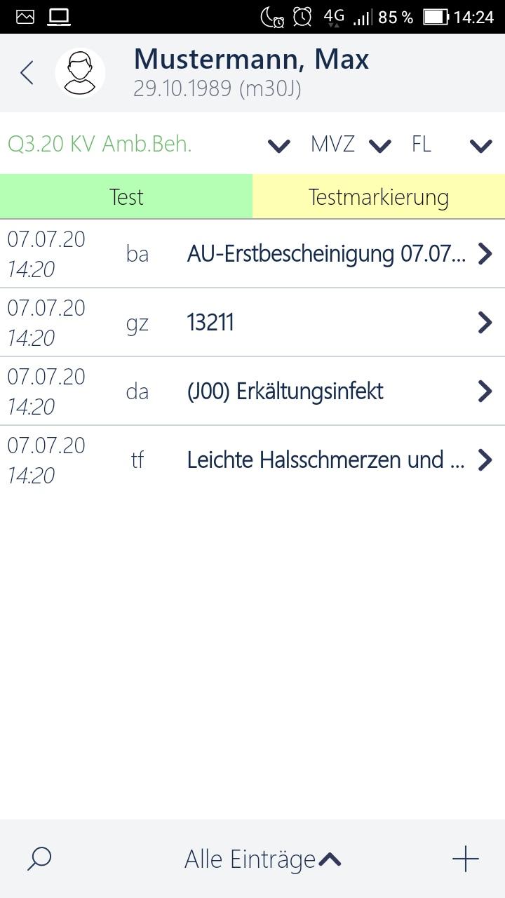 Arztsoftware MEDICAL OFFICE Krankenblattansicht in der App