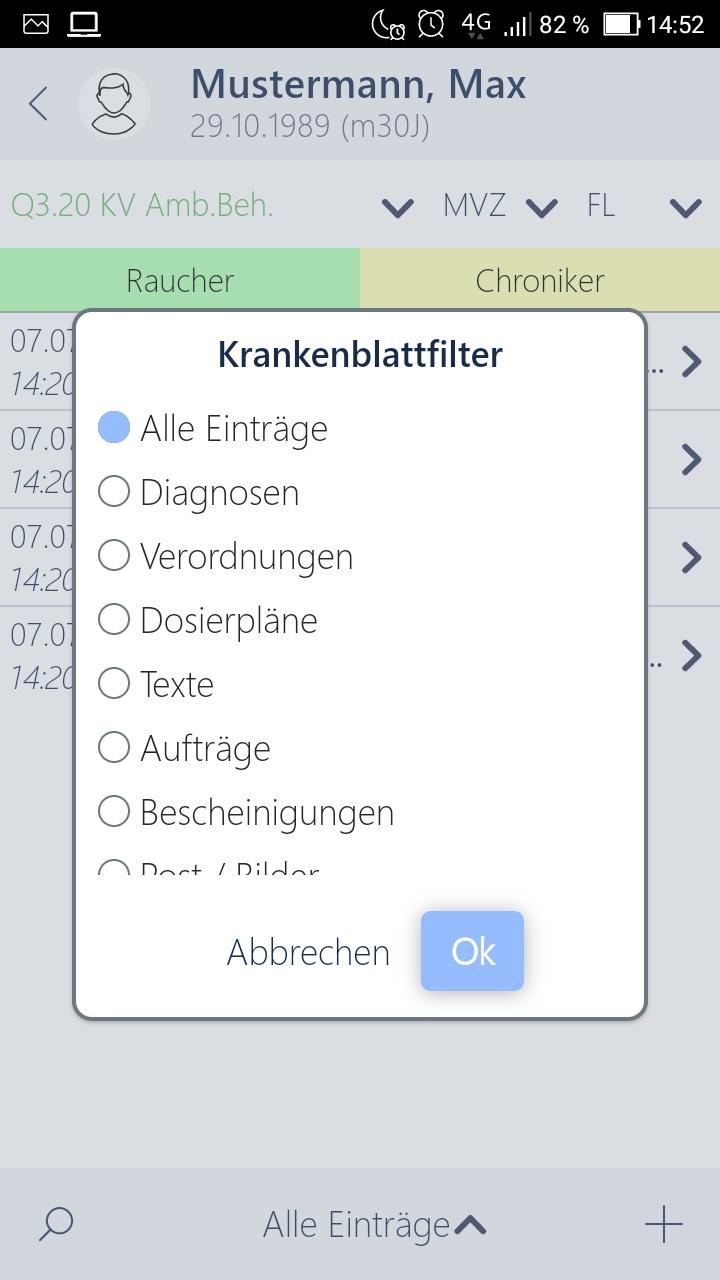 Krankenblattfilter in der Arztsoftware App