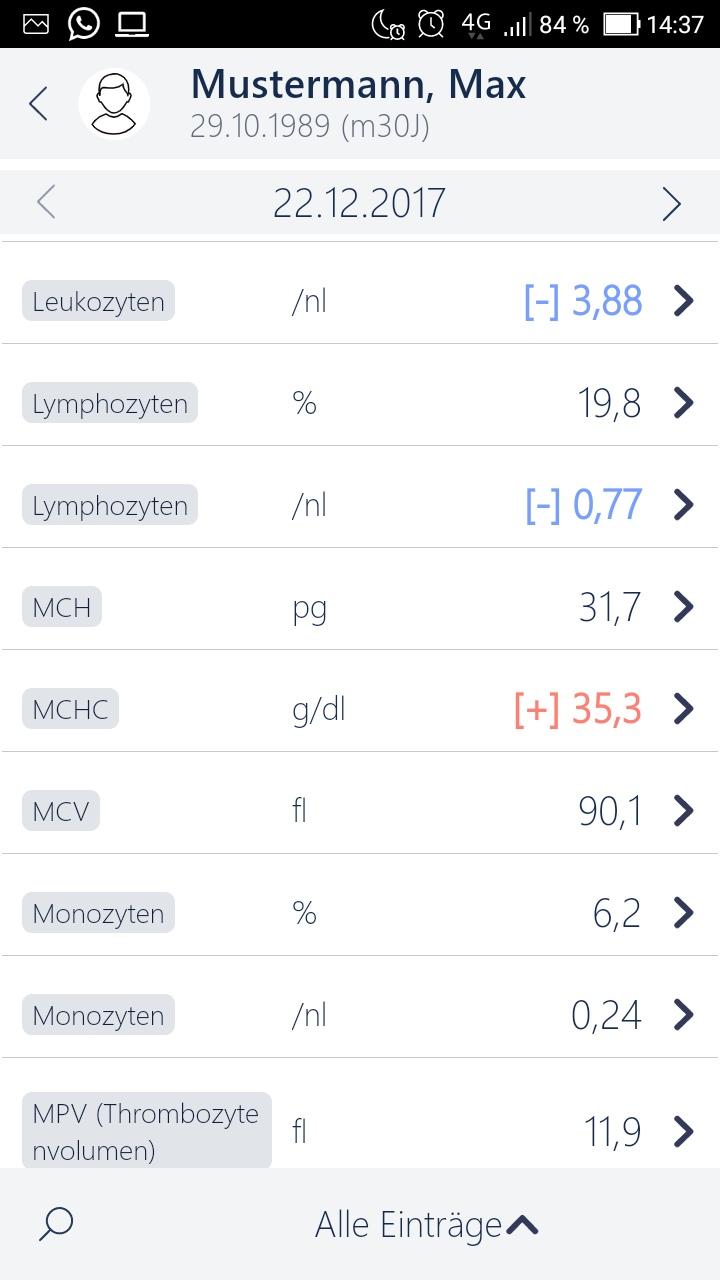 MedicalOffice App Messwerte eintragen