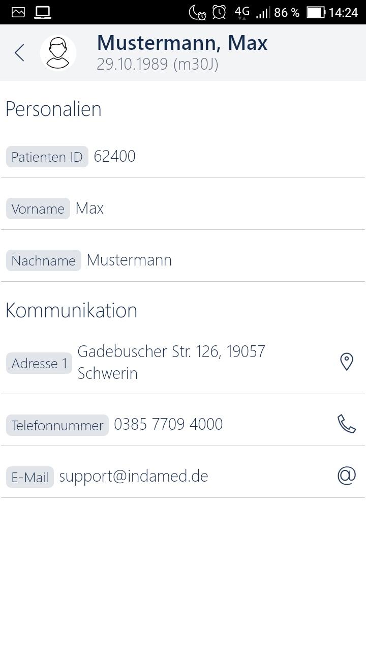 Praxissoftware MEDICAL OFFICE App Stammdaten Ansicht