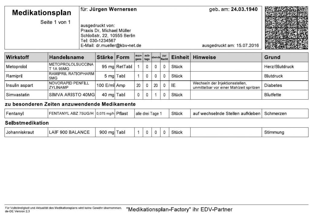 Bundeseinheitlicher Medikationsplan MEDICAL OFFICE Modul Medikament werbefrei