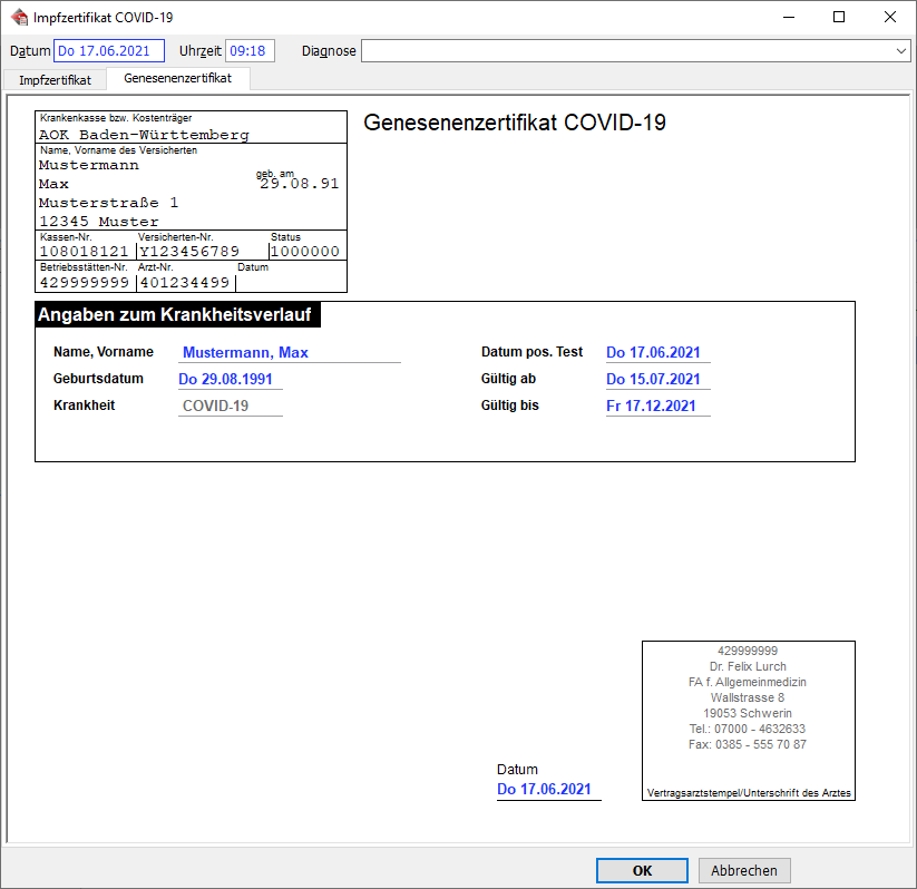 Arztsoftware MEDICAL OFFICE Zertifikat für Genesene